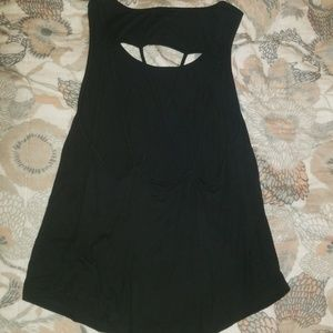 Black tank top with cut out criss cross back